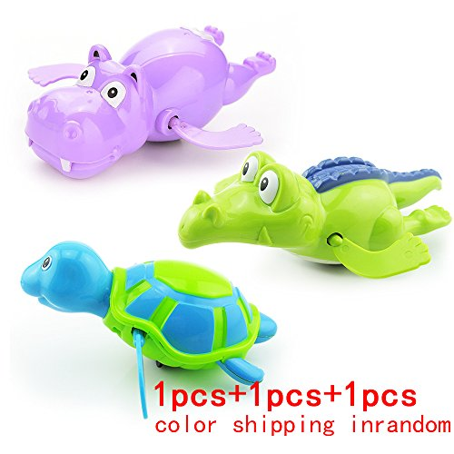 Cool Carton Water Animals Design Baby Pool Bath Toys,Wind Up Turtles&Crocodile Clockwork Play Swimming Alligator for Kid Educational Toys Infant baby Gift(3pcs)