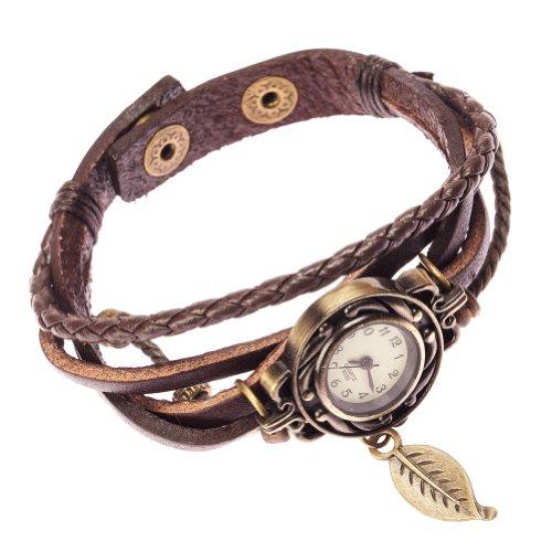Brown Ladies Womens Plaited Leather Strap Fashion Flower Wrist Watch By Vaga®