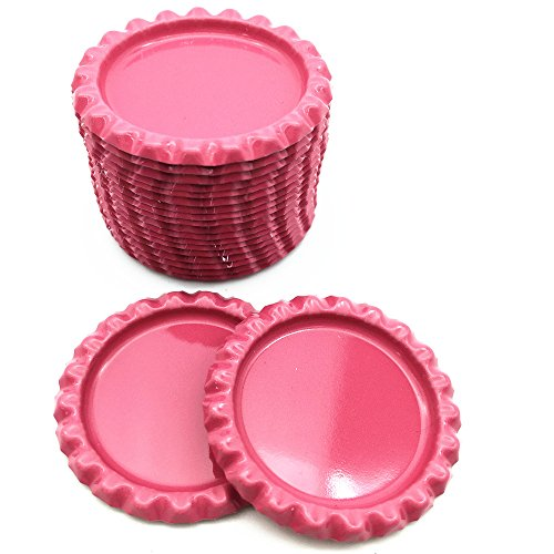 IGOGO Bottle Caps Decorative Bottle Cap for Hair Bows,DIY Pendants or Craft Scrapbooks Pink (Pack of 100)