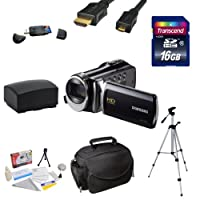"Samsung HMX-F90 HD Camcorder (Black) with 2.7"" LCD Screen With Best Value Accessory Kit Includes 16GB Transcend High Speed Error Free SDHC Memory Card + USB 2.0 Card Reader + Additional Samsung IA-BP210E Replacement Battery Pack + Professional Photo / Vid"