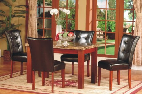 """Brand New 5 Pc Dark Artificial Marble Top Dinette Dinning Set, Dining Table and 4 Chairs (30"""" X 48"""")"""