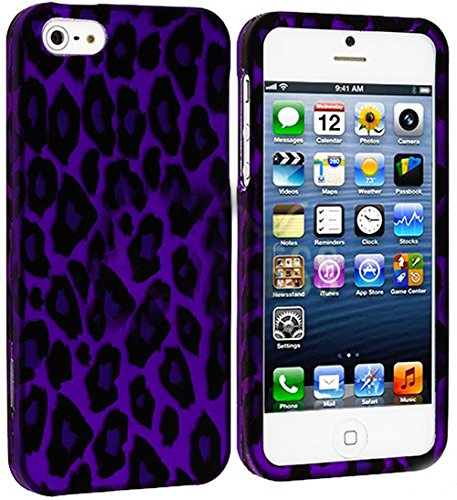 Mylife Violet Purple Leopard Print Series (2 Piece Snap On) Hardshell Plates Case For The Iphone 5/5S (5G) 5Th Generation Touch Phone (Clip Fitted Front And Back Solid Cover Case + Rubberized Tough Armor Skin)