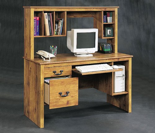 Sauder Cottage Desk with Hutch - Pine Finish