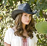 Straw Cowboy Hat for Women with Faux Leather Band and Shapeable Brim by NYC Leather Factory Outlet