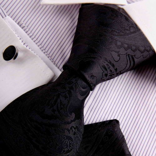 Black mens tie Black Patterned Woven Silk Neckie Hanky Cufflinks Present Box Set Y&G Mens Tie Set H8052