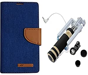 quick pick mercury flipcover samsung galaxy S6 Edge blue with Pocket Selfie Stick