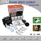 Floureon® Système d'alarme maison sans fil écran LCD sécurité GSM Autodial hôte d'alarme + détecteur de fumée + gaz + sirène pour sécurité maison, bureau, contre cambriolage et incendie