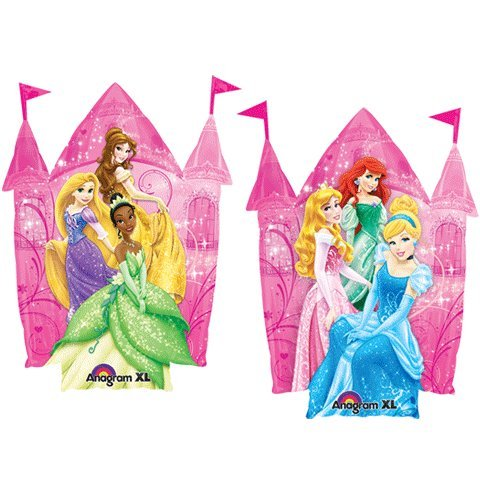 "Disney Princesses Pink Castle Shaped 35"" Mylar Foil Birthday Balloon - 1"