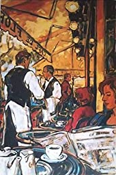 24W x 36H Cafe Flore by Jeannette Perreault - Stretched Canvas w/ BRUSHSTROKES