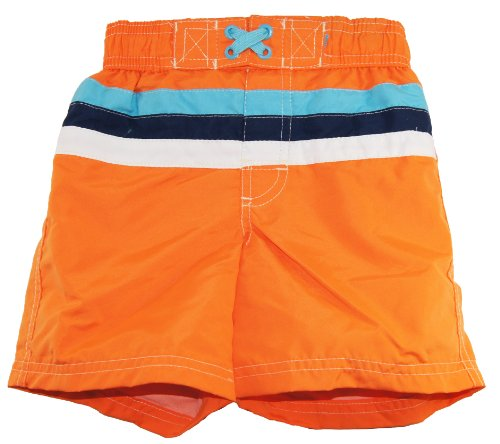 Ixtreme Little Boys Swimwear Stripe Swim Trunk, Orange 4T front-1046835