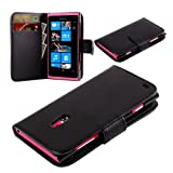 Nokia Lumia 800 N800 New Black Colour Pu Leather Wallet Book Flip Case Cover