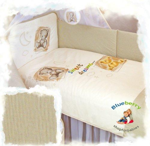 """3 pcs BABY COT BED BUNDLE BEDDING SET DUVET+PILLOW COVERS + BUMPER 90 x 120 cm (35.5"""" x 47"""") (Cream 2)"""