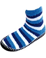 RJM Ladies Snowsoft Striped Bootie Slippers (Socks)