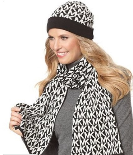 michael-kors-mk-signature-black-white-knit-scarf-and-hat