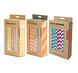 Kikkerland Plaid & Party Stripes Multi-Color Design Paper Straws - Set of 3