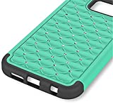 Galaxy S7 Case, SAUS [Bling Series] Dual Layer Studded Rhinestone Crystal Bling Hybrid Armor Defender Silicone Rubber Skin Hard Case For Samsung Galaxy S7 (Green)