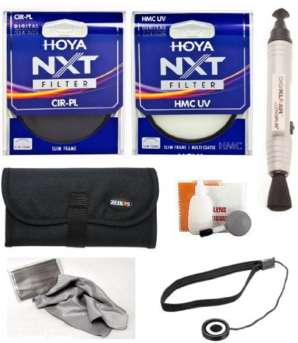 Hoya 77mm NXT HMC UV Multi Coated + Hoya 77mm Circular Polarizer Slim Frame Glass Filters + Pouch + Accessory Kit