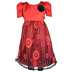 SSMITN Girls Dress (SK2221_2-3Y, Red, 2-3 Years)
