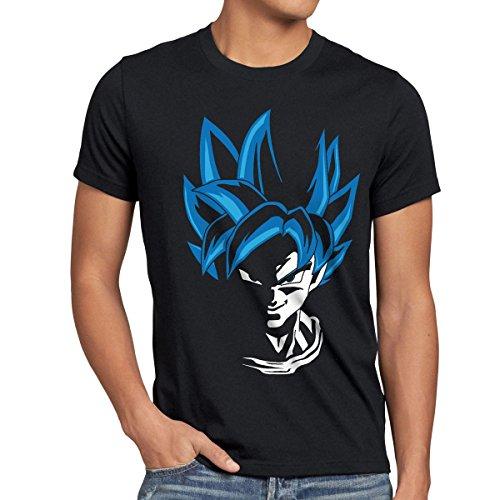 style3 Super Goku Blue God Modo T-shirt da uomo, Dimensione:M;Colore:Nero