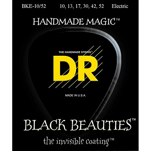 Dr Strings Electric Guitar Strings, Black Beauties - Extra-Life Black Coated, 10-52
