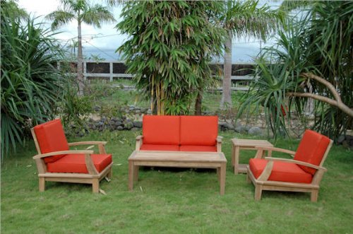 Premium Teak 2 Brianna Armchairs + Brianna Loveseat + Coffee Table + 2-Tier Square Side Table By Anderson Teak