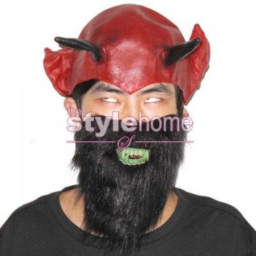 Three In One Devil Makeup Set Halloween Accessory --- Headpiece / Beard / Teeth (Devil Makeup Stack)