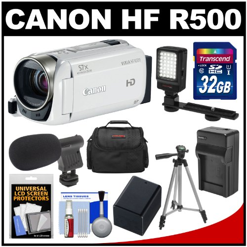 Canon Vixia Hf R500 1080P Hd Digital Video Camcorder (White) With 32Gb Card + Battery & Charger + Case + Led Light + Mic + Tripod + Kit