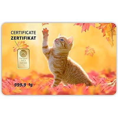 Goldbarren Geschenkkarte 0,5 g 0,5g Gramm Feingold 999.9 Nadir Gold Tier Katze