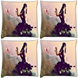 Snoogg Fly Away My Love Pack Of 4 Digitally Printed Cushion Cover Pillows 12 X 12 Inch