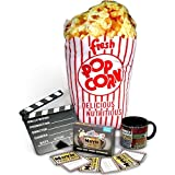 Sale Cheap Movie Lover's Gift Set (Retro Popcorn Pillow- Movie Trivia Cards- Classic Movie Mug- Hollywood Slate Board) With Deal