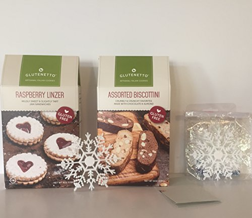 GLUTEN FREE: GLUTENETTO Gourmet Raspberry Linzer And GF Gourmet Assorted Biscottini+ Free Set of 12- 4in White Glitter Xmas Christmas Snowflake Ornaments and More. Great For Holidays Bundle(2 Items+) (Dessert And Baking Salts Gift Set compare prices)
