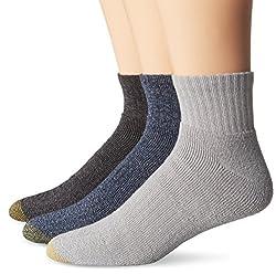 Gold Toe Men's Arch 360 Sierra Quarter Socks, Denim/Grey Marl/Black, 10-13/6-12 (Pack of 3)