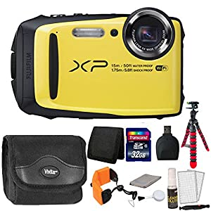 Fujifilm FinePix XP90 16MP Waterproof Digital Camera with Accessory Kit - Yellow