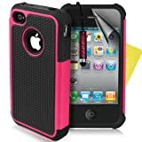 Supergets® Shock Proof Dual Layer Apple Iphone 4 4g 4s Protective Case,Screen Protector And Polishing Cloth - Hot Pink