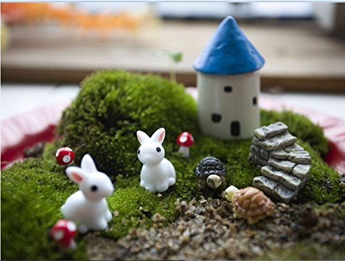 Mossfairy 10pcs Miniature Fairy Garden Dollhouse Mediterranean Style DIY kit