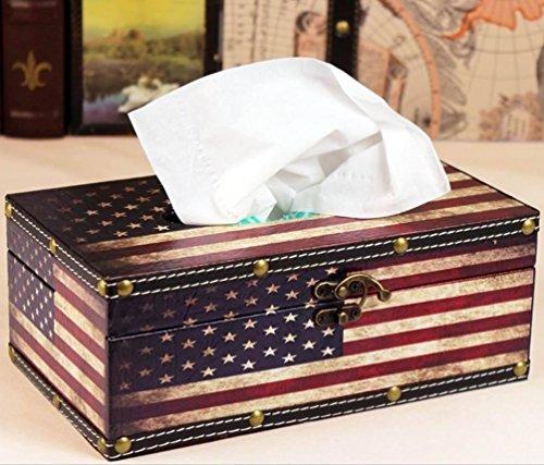 木製 ティッシュケース  国旗 レトロ アンティーク 雑貨 (アメリカ国旗)...