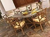 Patio Outdoor Landgrave Vienna Aluminum Casual Dining Set for 6