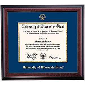 Wisconsin Stout Blue Devils Diploma Frame Blue Gold Matting Embossed ...