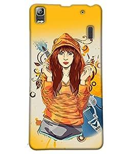 Fuson Music Lover Girl Back Case Cover for LENOVO K3 NOTE - D3920