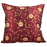Svisti Raw Silk Single Piece Cushion Cover-Maroon, 40.64 Cm X 40.64 Cm