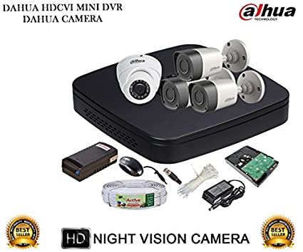 Dahua-DH-HCVR4104C-S2-4CH-Dvr,-3(DH-HAC-HFW1000RP)-Bullet,-1(DH-HAC-HDW1000RP)-Dome-Cameras-(With-Accessories,500GB-HDD)
