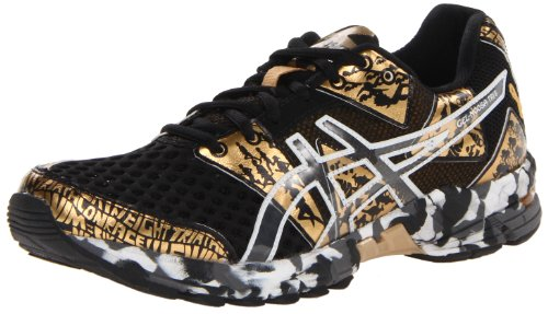 ASICS Women's Gel Noosa TRI 8 GR Running Shoe,Black/Gold Metallic/White,9.5 M US