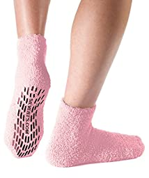 Non Skid/Slip Socks - Hospital Socks - Slipper Socks for Women and Men - Baby Pink