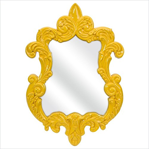 IMAX Finely Baroque Wall Mirror, Yellow