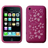 Dark Pink Floral Patterned Silicone Case Cover For Apple iPhone 3/3G/3GS