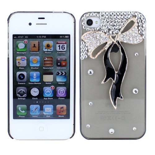 Fosmon 3D Bling Crystal Rhinestone with Gold and Black Bow Design Case for iPhone 4/4S