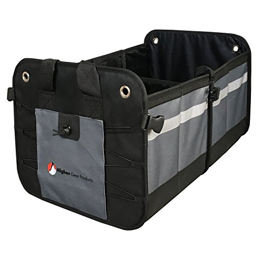 Higher Gear Products Premium Car Trunk Organizer - Best Heavy Duty Construction - Great For Car, SUV, Truck, Minivan, Home- Collapsible For Easy Storage