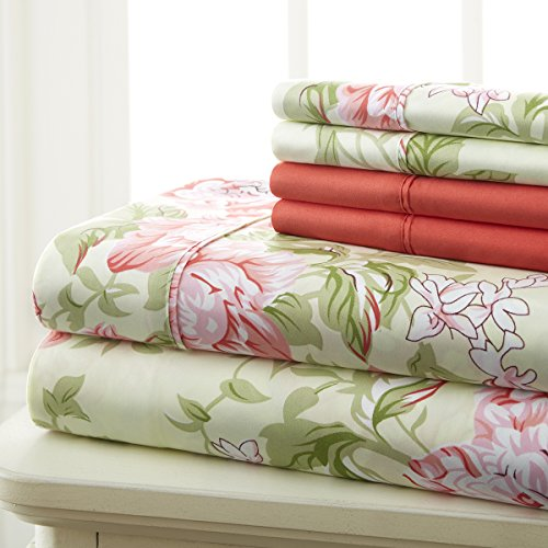 Spirit Linen Hotel 5Th Ave Prestige Home Collection 6 Piece Sheet Set, King, Rose Floral (King Sheet Set Hotel compare prices)