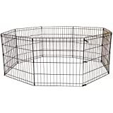 30 Tall Dog Playpen Crate Fence Pet Kennel Play Pen Exercise Cage -8 Panel Black