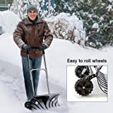 "Heavy Duty Adjustable Rolling Snow Pusher With 6"" Rubber Wheels"